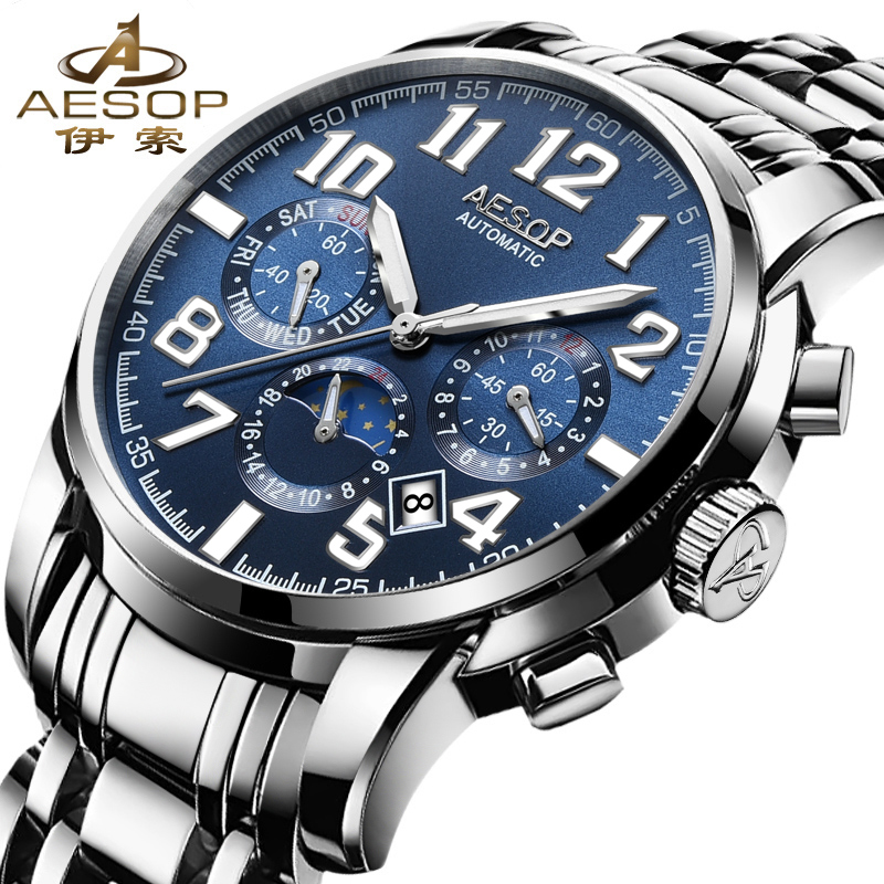 Luminous Men Watches Top Brand Luxury Aesop Automatic Mechanical Watch Multifunction Sport Military Male Clock Relogio Masculino winner top brand luxury men s wrist watch men military sport clock male skeleton automatic mechanical watches relogio masculino