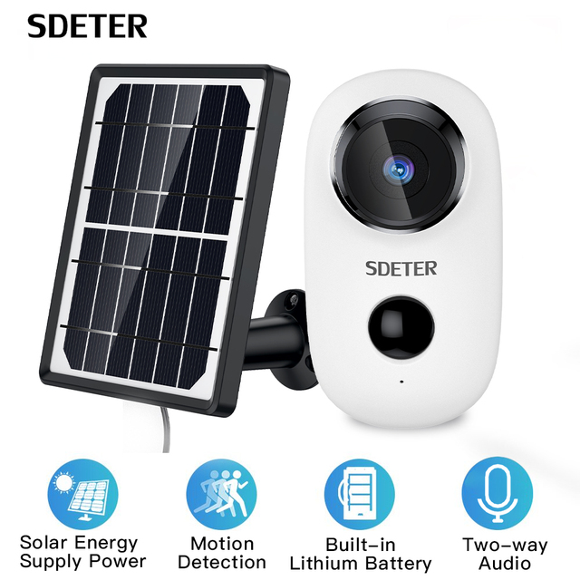 SDETER Argus 2 Wire-Free Security Camera Outdoor Rechargeable Battery With Solar Panel 720P IP WIFI Camera Outdoor 2-way Audio