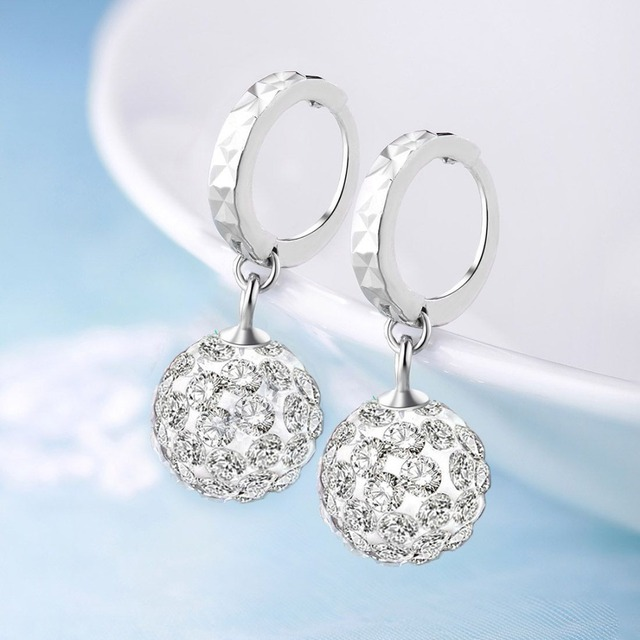ce32e3b51 Martick Shining Crystal Hoop Earrings 100% 925 Sterling Silver Jewelry  Round Boll Earrings Brincos For Girl Fashion Bijoux GSE15
