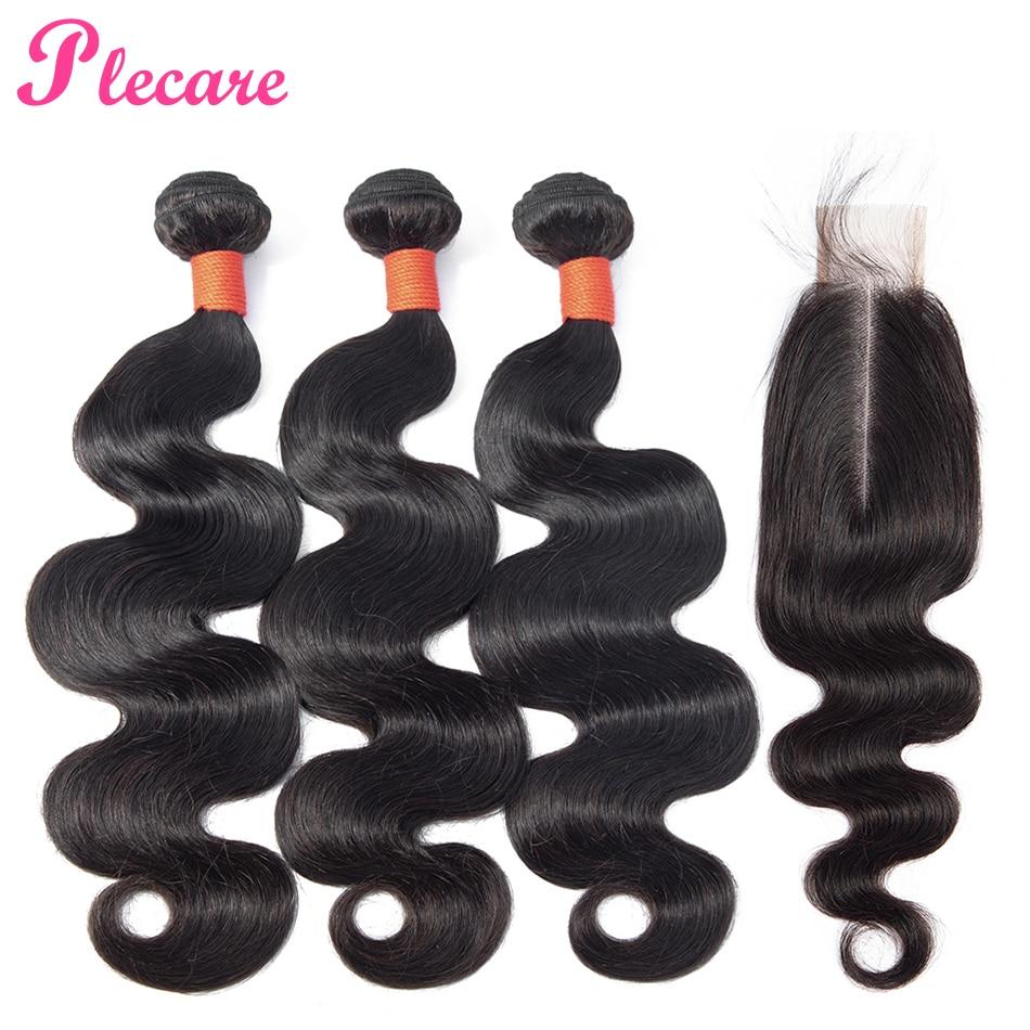 Plecare Bundles With Closure Brazilian Body Wave Hair Bundles With Closure 100 Human Hair 3 Bundles