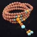 Ubeauty 7mm 108 Nepal Rudraksha buddha prayer beads bracelet Tibetan japa rosary  Buddhist meditation necklace turquoise beads