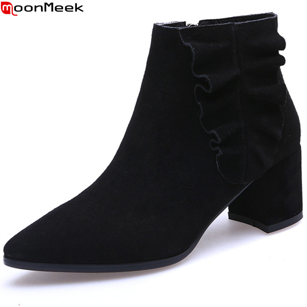 MoonMeek fashion square heel ladies shoes pointed toe cow suede boots zipper black wine red women ankle boots big size 33-42 ladies boots 2017 casual winter black suede round toe square heel ankle boots for women custum large size zipper shoes us 4 15 5