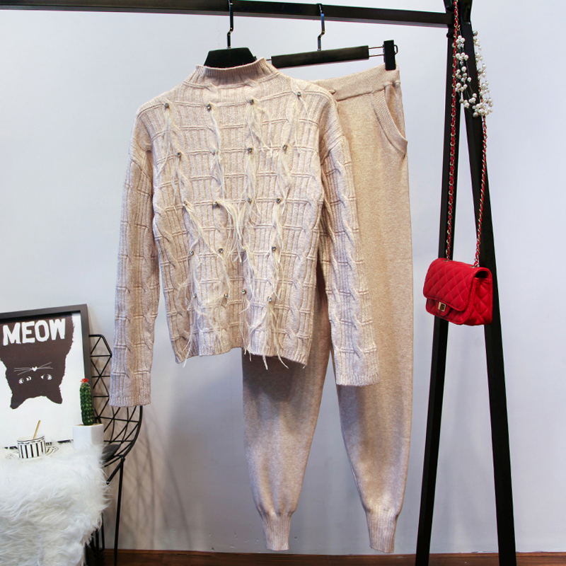 Amolapha Women Handmade Fur Beading Knitting Pullovers Sweaters Pants Clothing Sets Soft Knitted Tracksuits