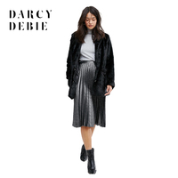 Darcydebie Ladies Fashion Outwear Long Sleeve Solid Faux Fur Casual Winter Pocket V Neck Long Line