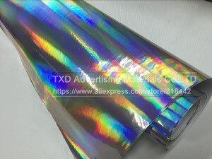 Image 5 - Premium Silber Laser auto wrap film holographische Regenbogen Aufkleber Auto styling film schwarz silber chrom vinyl probe Freies schiff