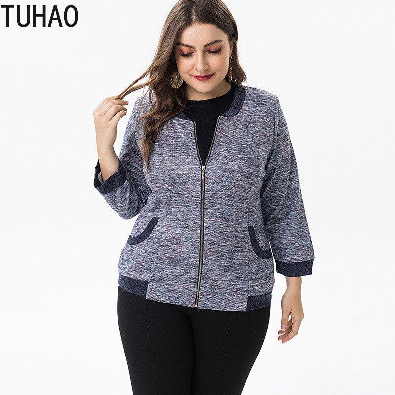 TUHAO PLUS SIZE 6XL 5XL Women's   Jackets   Office Retro Zipper Large Size 4XL 3XL Bomber   Jacket   Coats   Basic   Casual Outerwear ZPZ