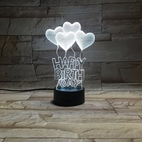 Happy Birthday 3D Colorful Led Night Light For Friends Kids Creative Birthday Present
