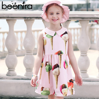 Beenira Children Clothes Dresses 2017 New Summer Style Kids Sleeveless Ice Cream Pattern Pink Dress For 4 14Y Cute Girls Dress
