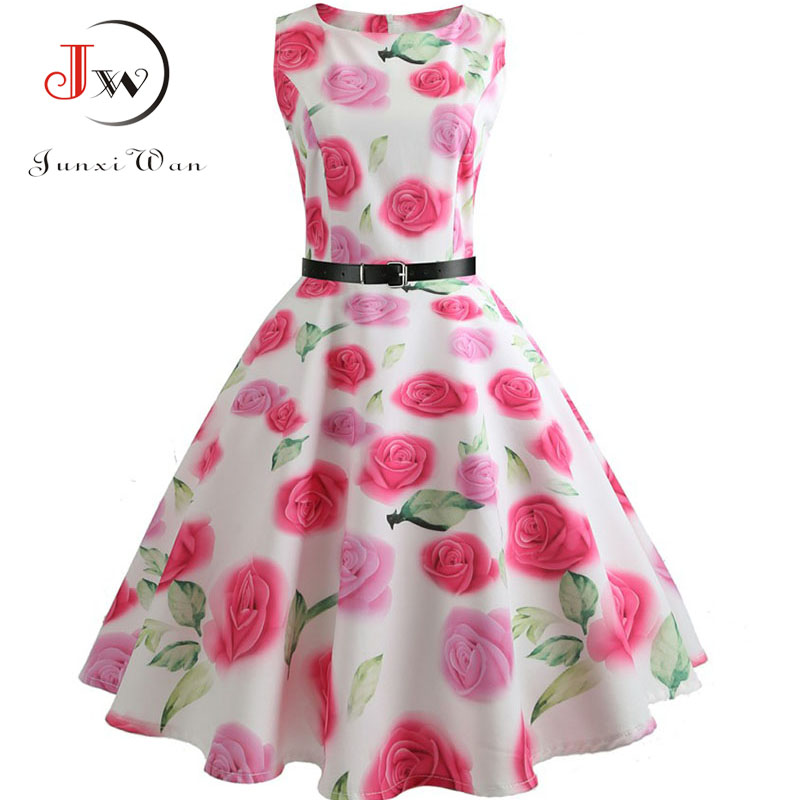 Floral Print Summer Dress Women  Vintage Elegant Swing Rockabilly Party Dresses Plus Size Casual Midi Tunic Runway Dress 4