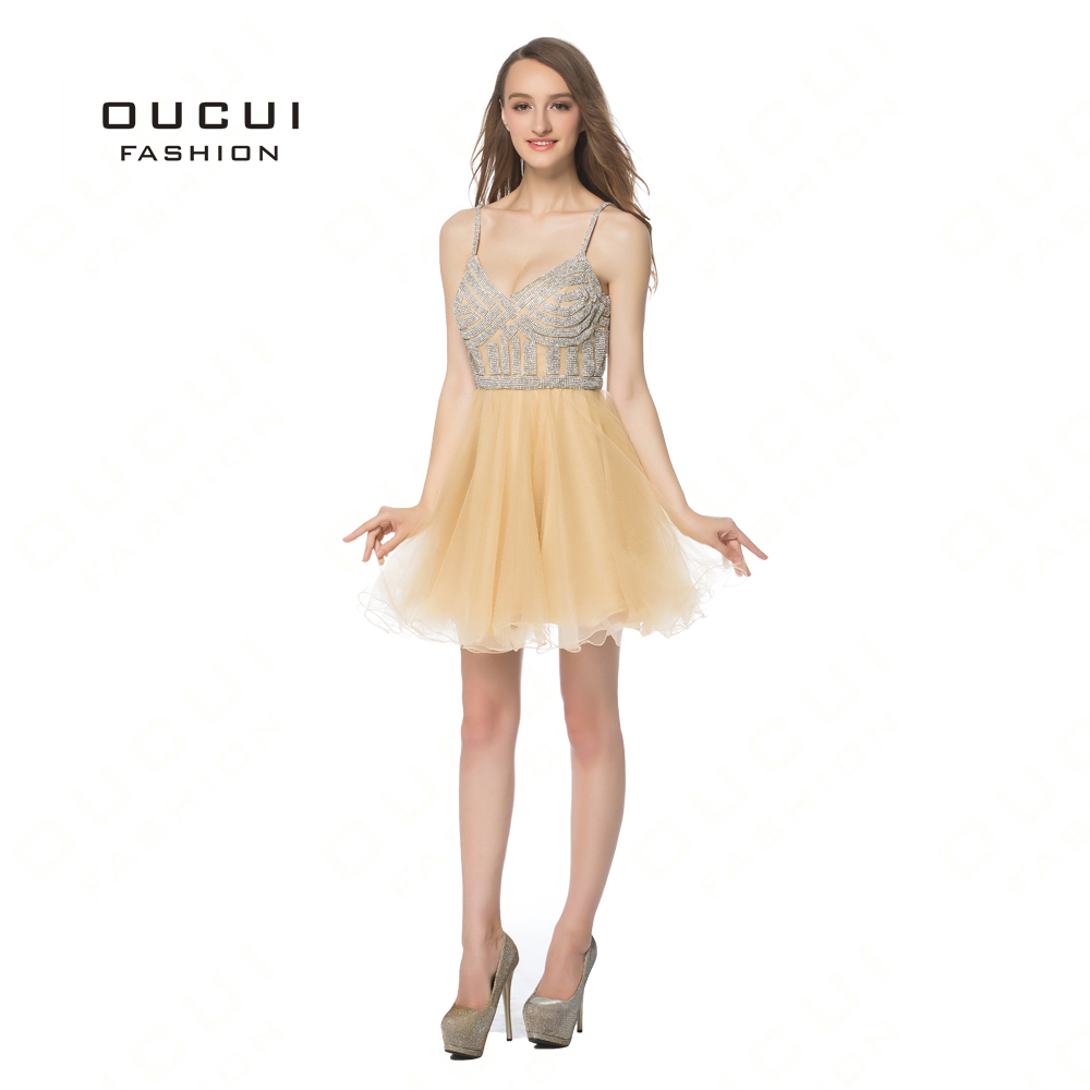 Real Photos Tulle Crystal Short Prom Dress Party Occasion High End