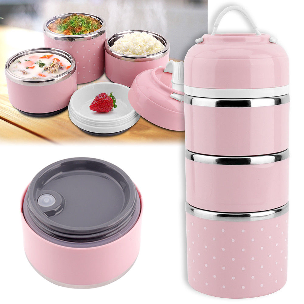 Colorful Cute Japanese Thermal Lunch Box Leak Proof Stainless Steel Bento Box Kids Portable Picnic School Food Container Box