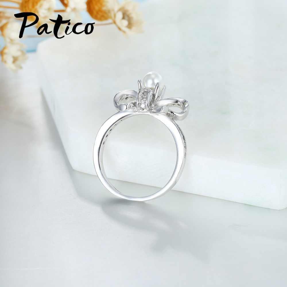 גרייס 925 סטרלינג כסף Bow עניבת Bowknot קסמי חתונה טבעות ליידי מעוקב Zirconia והמתוק פרל תכשיטים