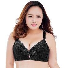 Atractivo de las mujeres Plus tamaño Bra BH de encaje Sujetador Push Up  delgada relleno y aros sujetador ropa interior grande de. a9e93d4e5543