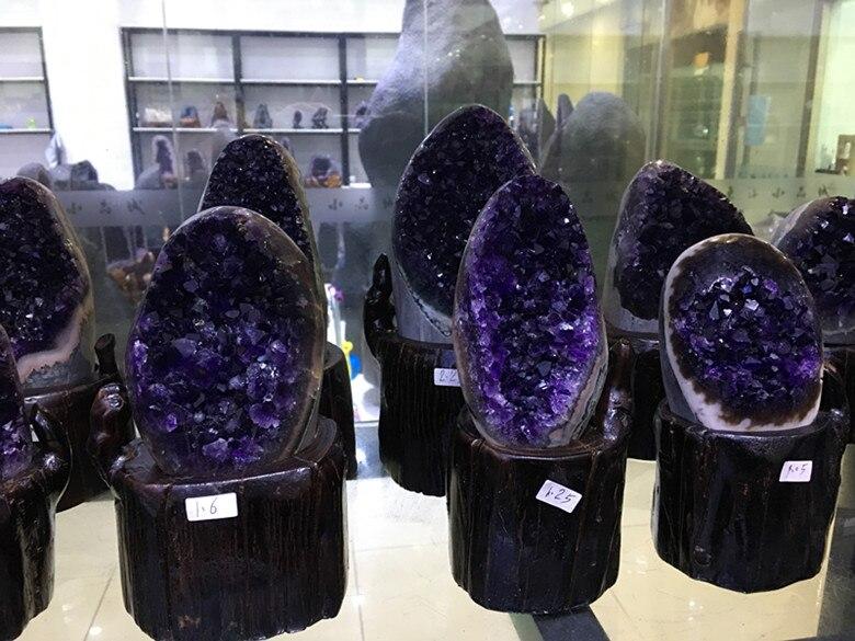 600g ametyst bryła kryształowa geoda ametystowa z uruguary próbki geoda ametystowa naturalne kamienie i minerały w Kamienie od Dom i ogród na  Grupa 2