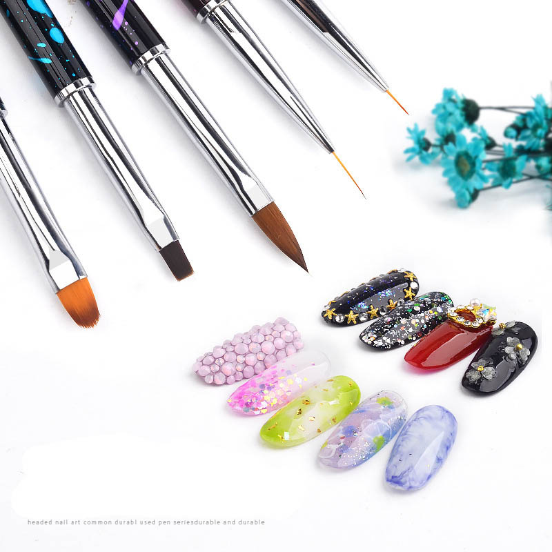 New Nail Art Brush Pen Rhinestone Diamond Metal Acrylic Handle Carving Powder Painting Gel Brush Salon Liner Nail Brush