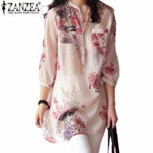 Zanzea Women Blouses Fashion 2017 Summer Blusas Blouse Button Casual Floral Print Long Tops Shirts Plus Size M-5XL