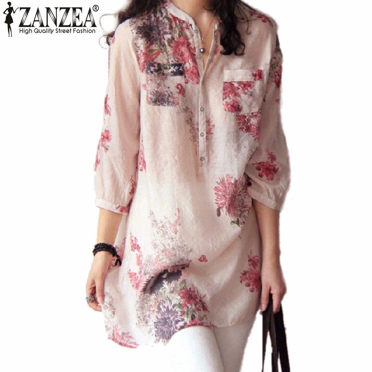 Zanzea mujeres blusas moda 2017 verano blusas blusa botón ocasional de la impres