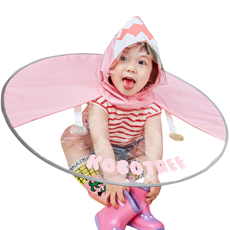Kids UFO Raincoat Blue Dinosaurs Rain Cover Umbrella Empty Your Hands Children Outdoors Enjoy Playing Toys Baby Coat