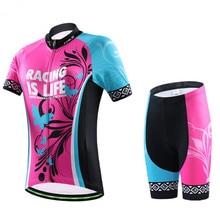 CHEJI Women Bike Cycling Clothing Sets Roupa Ciclismo GEL Breathble Pad Racing Short Sleeve Sportswear Bicycle Cycling Jersey