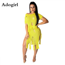 Knitted Holes Tassel Two Piece Set Women Sexy Off Shoulder Crop Top + Hollow Out Side Lace Up Irregular Skirt Beach Tracksuit off shoulder lace up crop top