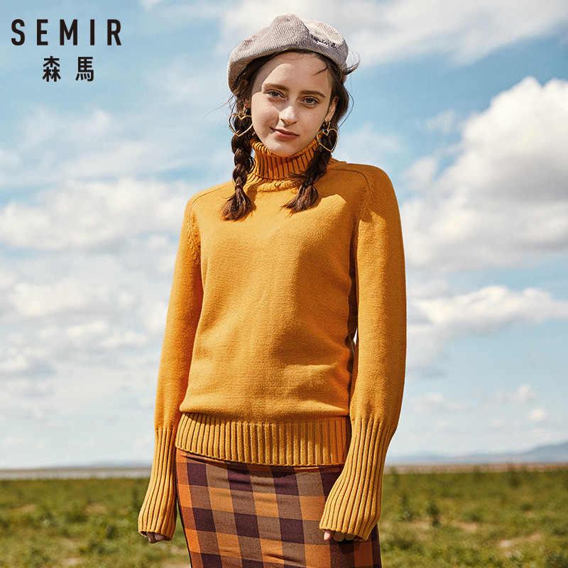 SEMIR женский свитер 2019 осень зима кашемировый вязаный женский свитер пуловер женский джемпер с высоким воротником