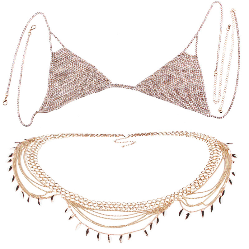 Stylish Women Shiny Crystal Rhinestone Mesh Body Bra Bikini Suit Sexy Charm Women Transparent Panties Body Chest Chain Jewelry