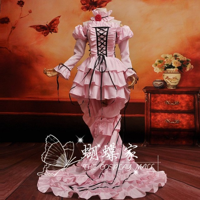 Japan Anime Chobits Chii Cosplay Costume Custom Made Classical Pink Dress  with Bustle 6df11bb8460f