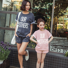 Family Matching Outfits Clothing Summer 2017 Cotton Printed Shorts Two Sets of Mother and Daughter New  Casual Children Clothing
