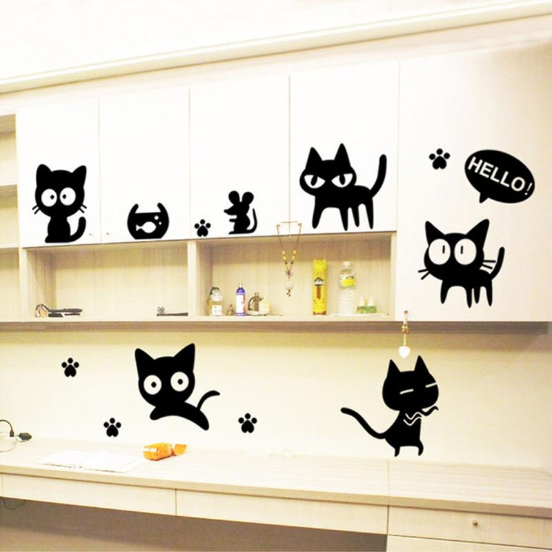 Black Cats DIY Wall Sticker Removable Wall Stickers Room Decoration ...