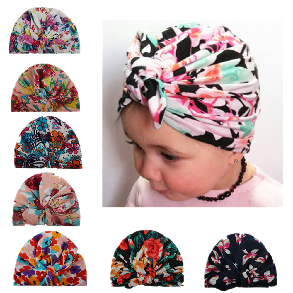 1 Piece Fashion Cute Newborn Infant Baby Girls Flower Bowknot Beanies Hat Comfortably Hospital Caps