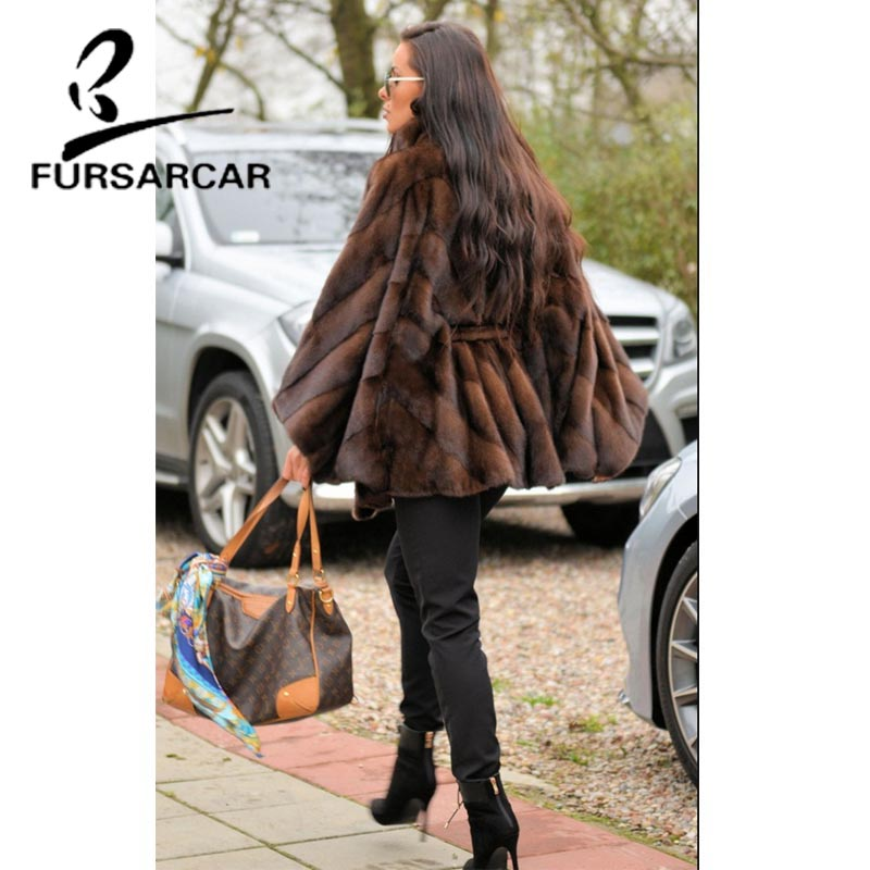 Image 2 - FURSARCAR Women Natural Real Mink Fur Coat With Stand Collar Bat Sleeved Thick Warm Genuine Fur Coat Luxury Female Garment 2019-in Real Fur from Women's Clothing