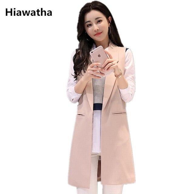 9811da8dd3533 Hiawatha Sleeveless Blazer Women Mid-Long 2018 Pink Vest Fashion Turn-down  Collar Cardigans