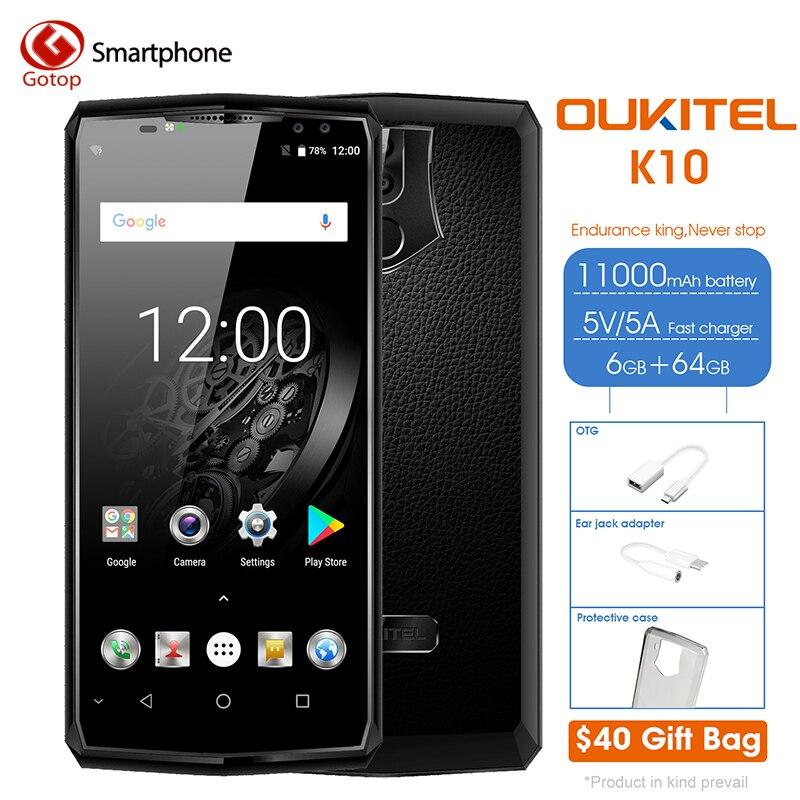 Oukitel K10 MTK6763 Octa Core 11000 mAh Smartphone Android 7,0 4 Cámara teléfono móvil 6 RAM 64G ROM cara identificación de huellas dactilares del teléfono celular