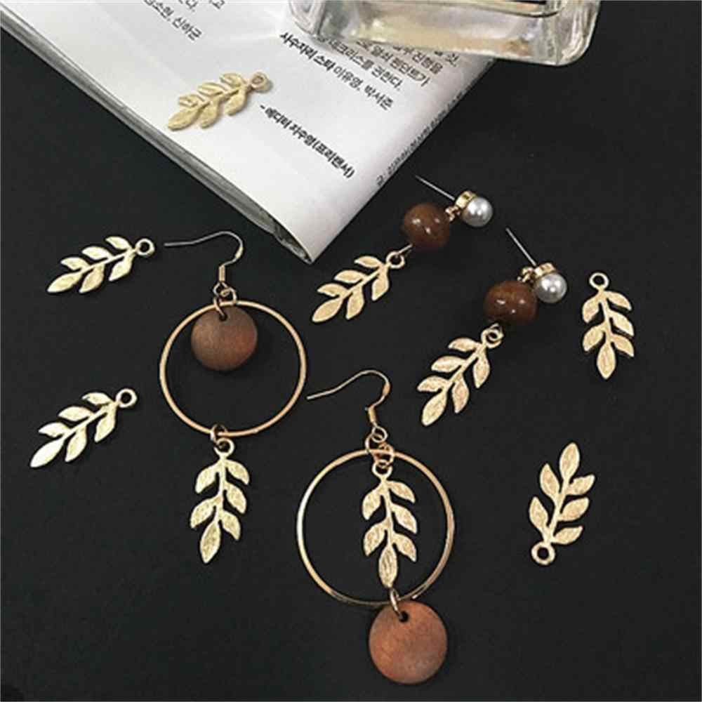 10 pcs/bag Gold Plated Leaf Connectors Metal Crafts Charms DIY Necklace Leaf Charms For Jewelry Findings Making DIY Accessories