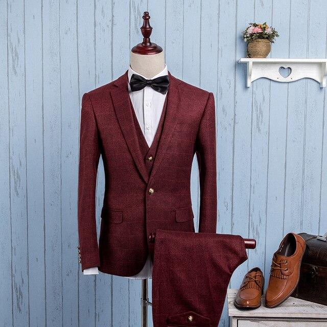 2016 весной новый мужской деловой случай костюмы устанавливает/Мужчины костюм-тройку три отдельный набор/мужской жилет + Пиджаки + брюки