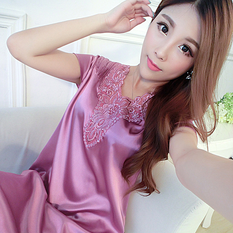 Satin Nightshirts For Women Ladies Faux Silk Sleeping Dress Female Nightdress Sleepwear Pijama Pyjama Nightwear Summer Nightgown