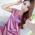 Satin Nightshirts For Women Ladies faux Silk Sleeping Dress female Nightdress Sleepwear Pijama Pyjama Nightwear summer nightgown
