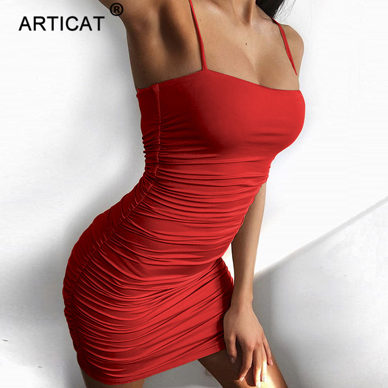 Articat Black Sexy Bodycon Summer Dress 2020 Strapless Spaghetti Strap Bandage Mini Dress Party Casual Basic Beach Dress Short