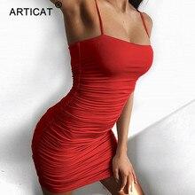 Articat Black Sexy Bodycon Summer Dress 2020 Strapless Spaghetti Strap Bandage Mini Dress Party Casual Basic Beach Dress Short