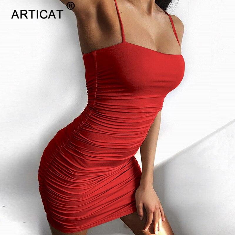 Articat Schwarz Sexy Bodycon Sommer Kleid 2018 Liebsten Spaghetti Strap Bandage Mini Kleid Partei Casual Grundlegende Strand Kleid Kurze