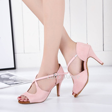 New Light Pink Flock Perfect Weddidng Salsa Tango Ballroom Dance Shoes Latin Dancing DS430