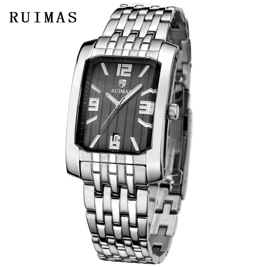 Men Classic Dress Watch Mens Business Watches Male Waterproof Quartz Calendar Wristwatch Steel RUIMAS Clock Relogio Masculino цена и фото