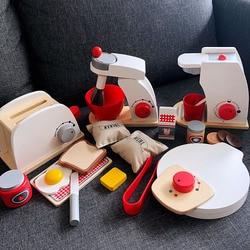 Детские деревянные кухонные игрушки, деревянная кофемашина, тостер, Миксер для еды, для детей, ролевые игры, раннее обучение, обучающая игру...