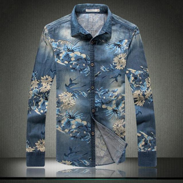 17b3d152005 Men Casual Floral Shirts Spring Autumn 2016 Long Sleeved Shirt Slim Denim  Shirt Men s Retro Male