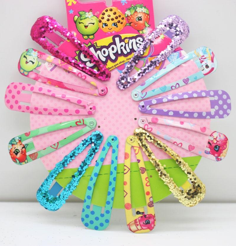 Christmas gifts 12pcs/set cute printing hairpins glitter heas