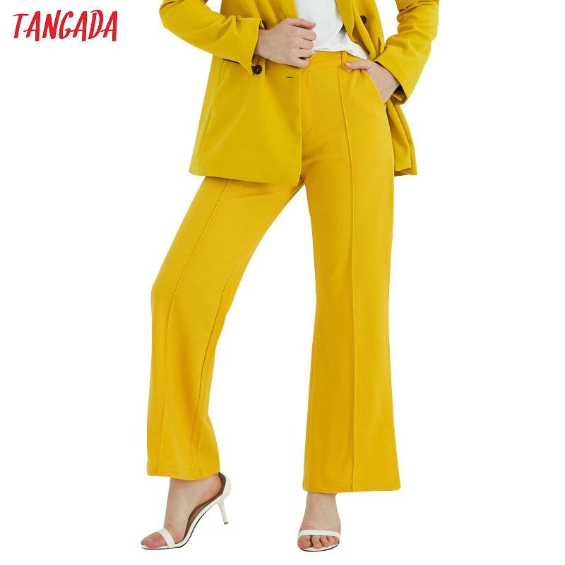 Tangada Women Solid Yellow Pants Vintage Chiffon Suit Pants Office Lady Trousers Casual Korea Fashion New Arrival SL163