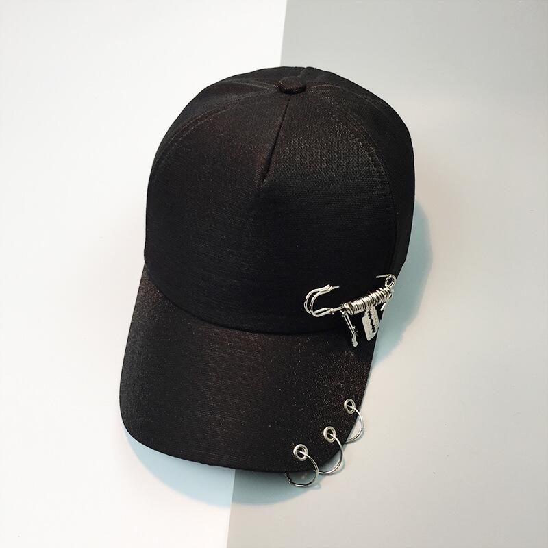 SUOGRY Fashion Black White Adjustable Snap Back Iron Ring Casual Popular Hip Hop Outdoor Baseball Caps in Men 39 s Baseball Caps from Apparel Accessories