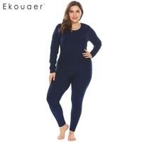 Ekouaer Women Sleepwear Thermal Nightwear Set Solid Top and Sleep Bottom Fleece Lined Plus Size Pajamas Female Home Clothing