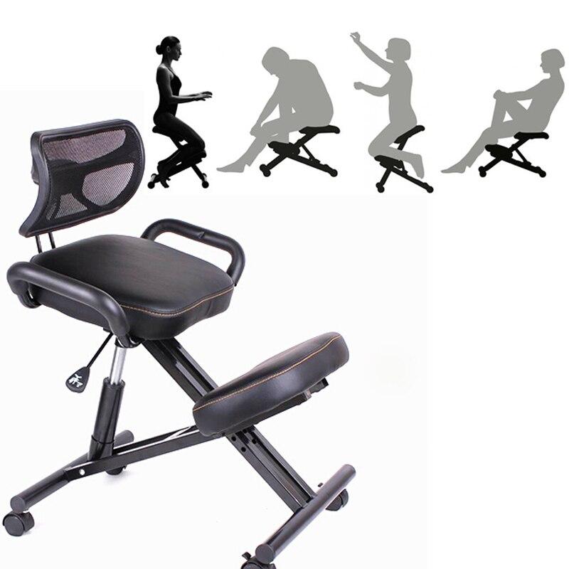 Un, Du Genou Ergonomique Chaise avec le Dos et Poignée Bureau D'agenouillement Chaise Ergonomique Posture En Cuir Noir Chaise Avec Roulette