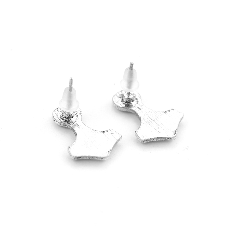 Viking Norwegian pirate jewelry hammer Mjolnir Earring Scandinavian Hammer Earrings man punk stud earrings A gift to a fan